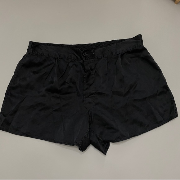 Isaac Zelcer Vintage Black 100% Silk Shorts